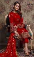 """Embroidered front (W=28"""" H=41"""") Embroidered back (W=28"""" H=41"""") 2 embroidered sleeve bunches Thin embroidered border 1 meter Embroidered daman border 52"""" Plain velvet for sleeves 0.6 meter Dyed raw silk trousers 2.5 meter Dyed woven chiffon dupatta 2.5 meter"""