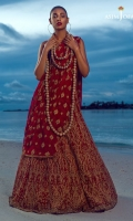 Embroidered Net panels = 16 pannels Embroidered pearl border = 5 meter Embroidered choli jaal net= 1 meter Embroidered chiffon sleeves= 2 pcs