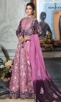 Embroidered Koti front (2 pieces L/R) Embroidered Koti back Embroidered sleeve border 1 meter Embroidered chiffon dupatta 2.5 meter Embroidered hem border 3.5 meter Dyed raw silk trouser 2.5 meter Dyed jacquard lorex organza 5 yard