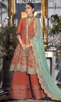 Embroidered motifs 14 Embroidered daman border 3.5 meter Thin embroidered border 2 meter Embroidered chiffon dupatta 2.5 meter Dyed raw silk trouser 2.5 meter Dyed jacquard cotton net 5 yard