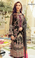 """embroidered front 42"""" embroidered back 42"""" Yard embroidered sleeve hem border (1) Front embroidered border 27"""" Back embroidered border 27"""" Dyed cotton trouser 2 meter Dyed self jacquard sleeves 0.5 meter Printed silk dupatta 2.5 meter"""