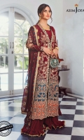 """Embroidered front open panels (R/L) (W=12 H=39"""") Embroidered back W=26""""H=45"""" Embroidered sleeves W=39""""H=26"""" Embroidered border on teal color for daman 52"""" Embroidered border on burnt orange color for daman 52"""" Thin embroidery border on teal for front open and sleeve hem 4 meter Dyed raw silk trouser 2.5 meter Dyed woven chiffon dupatta 2.5 meter"""