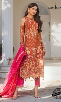 """Embroidered front W=26"""" H=43"""" Embroidered sleeves W=39"""" H=26"""" Embroidered back W=26"""" H=43"""" Embroidered back border 26"""" Embroidered thin border 1 meter Dyed raw silk trouser 2.5 meter Woven dyed organza dupatta 2.5 meter"""