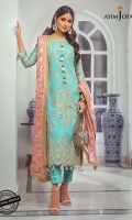 """Embroidered front (W=26"""" H=45"""") Embroidered back (W=26"""" H=45"""") Embroidered Sleeves (W=39"""" H=26"""") Thin embroidered border 1 meter Dyed raw silk trouser 2.5 meter Dyed jacquard chiffon dupatta 2.5 meter"""