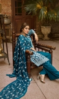 Embroidered Chiffon Front: 1 yard Embroidered Chiffon Back: 1 yard Embroidered Chiffon Sleeves: 0.72 yard Embroidered Chiffon Dupatta: 2.50 yards Embroidered Gala Patti: 1.25 Yards Grip Trouser: 2.50 Yards