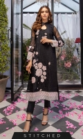 This ready-to-wear embroidered organza shirt in black designed with a loop neck, 3D embellished floral motifs on the front and sleeves, contrast color border further enhance the look. This outfit comes with raw silk straight pants with lace on borders.