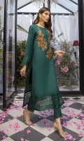 Our ready-to-wear cotton silk outfit in Emerald Green is done with perfection. This A-line shirt designed with the boat neck, heavily hand embellished work on the front with color contrast, sleeves and border are delicately embroidered. It comes in the same color straight pants.