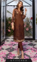 Look effortlessly chic in this chocolate brown outfit. The organza shirt adorned with 3D embellished motifs on the bodice, the front is further enhanced with sophisticated floral patterns, beautiful embroidery is done on sleeves and border. This outfit paired with straight pants.