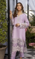 Make your events memorable with our ready-to-wear cotton silk outfit in Lavender beauty. This panel shirt designed with a delicate hand embellished neckline, detailed embroidery on sleeves and borders. This shirt goes with embroidered straight pants.