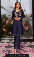Get this Dreamy attire with our ultramarine ready-to-wear cotton silk outfit. This stunning peplum featuring intricate handwork detailing on the bodice with Kora and Dabka. Embroidered lace placed on sleeves and border. It's style with slightly hand-placed pearl and embroidered bell-bottoms.