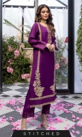 Elevate your style in our plum ensemble. This cotton silk shirt designed with intricate handwork detailing on the front along with Kora and Dabka, sleeves and border are delicately embroidered. It's paired with straight pants with a matching embroidered border.