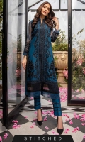 Be bold and classy in this midnight blue ensemble. Our ready-to-wear 2pcs outfit featuring a front open organza shirt with heavy 3D hand embellishment with zardozi and sequins work. It comes with raw silk straight pants with lace finished on the border.