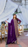 """Embroidered Chiffon Front: 1 Yard (Shirt Length with Border 43""""+) Embroidered Chiffon Sleeves: 0.62 Yards Dyed Chiffon Back: 1.25 Yards Embroidered Chiffon Dupatta: 2.5 Yards 2 Embroidered Organza Trouser Borders (22""""x2) Dyed Rawsilk Bottom Fabric: 2.5 Yards Inner Fabric Included"""