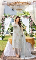 """Embroidered Chiffon Front: 1 Yard (Shirt Length with Border 43""""+) Embroidered Chiffon Sleeves: 0.62 Yards Dyed Chiffon Back: 1.25 Yards Embroidered Tie & Dye Chiffon Dupatta: 2.5 Yards 2 Embroidered Organza Trouser Borders (22""""x2) Dyed Rawsilk Bottom Fabric: 2.5 Yards Inner Fabric Included"""