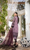 """Sequins Embroidered Chiffon Front 1 Yard Embroidered Chiffon Back 1 Yard Sequins Embroidered Chiffon Sleeves 0.6 Yards Zari Embroidered Striped Organza Dupatta 2.5 Yards 2 Embroidered Trouser Laces Dyed Raw Silk Bottom Fabric 2.5 Yards Shirt Length with Border: 42""""+ Shirt Width: 30"""""""