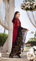 """Sequins Embroidered Organza Front 0.82 Yards Embroidered Organza Back 0.82 Yards Sequins Embroidered Organza Sleeves 0.6 Yards Embroidered Chiffon Dupatta 2.5 Yards 4×2 Embroidered Trouser Laces Dyed Bottom Fabric 2.5 Yards Shirt Length: 40""""+"""