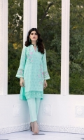Embroidered Cotton Net Jacquard Front 1 Yard | Lenght 42″ with border | Width 26″  Cotton Net Jacquard Sleeves0.6 yards (Width) Dyed Cotton Net Back1 Yard (Width) Embroidered Organza Daman Border0.82 yards (Width) 2 Embroidered Organza Sleeve Borders  * Inner Fabric Included