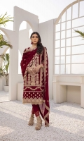 """Embroidered Chiffon Front: 1yard Embroidered Chiffon Sleeves: 0.6yards Dyed Chiffon Back: 1.25yards Embroidered Chiffon Dupatta: 2.5yards. Raw Silk Bottom Fabric: 2.5yards 2 Embroidered Trouser borders Inner Fabric included Shirt Length with border: 43""""+"""