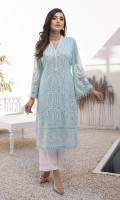 """Chicken Kari&sequins Embroidered Chiffon Front 1 yard Chicken Kari&Sequins Embroidered Chiffon Sleeves 0.62yards Dyed Chiffon back 1.25yards Shirt Length (with border) 43""""+ Inner Fabric Included"""