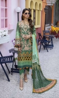 """Embroidered and Digital Printed Lawn Front: 1.2yards Digital Printed Lawn Back: 1.2yards Digital Printed Lawn Sleeves: 0.62yards Embroidered Organza Sleeves laces: 2pcs Chiffon Digital Printed Dupatta: 2.5yards Premium Cotton fabric for bottom: 2.5 meters Embroidered Trouser Borders: 2pcs Shirt Length: 44""""+ Shirt width: 30""""+"""