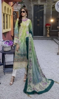 """Embroidered and Digital Printed Lawn Front: 1.2yards Digital Printed Lawn Back: 1.2yards Digital Printed Lawn Sleeves: 0.62yards Embroidered Organza Daman border: 0.82 yards Embroidered Organza Sleeve Laces: 2pcs Chiffon Digital Printed Dupatta: 2.5yards Premium Cotton fabric for bottom: 2.5 meters Embroidered Trouser Bunches: 2pcs Shirt Length with border: 48""""+ Shirt width: 30""""+"""