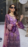 """Embroidered and Digital Printed Lawn Front: 1.2yards Digital Printed Lawn Back: 1.2yards Digital Printed Lawn Sleeves: 0.62yards Embroidered Organza Daman border: 0.82 yards Embroidered Organza Sleeves laces: 2pcs Chiffon Digital Printed Dupatta: 2.5yards Premium Cotton fabric for bottom: 2.5 meters Zari Embroidered Trouser Borders: 2pcs Shirt Length with border: 48""""+ Shirt width: 30""""+"""