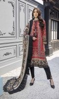 """Embroidered and Digital Printed Lawn Front: 1.2yards Digital Printed Lawn Back: 1.2yards Digital Printed Lawn Sleeves: 0.62yards Embroidered Organza Sleeves laces: 2pcs Chiffon Digital Printed Dupatta: 2.5yards Premium Cotton fabric for bottom: 2.5 meters Embroidered Trouser Bunches: 2pcs Shirt Length: 44""""+ Shirt width: 30""""+"""