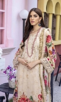 """Embroidered and Digital Printed Lawn Front: 1.2yards Digital Printed Lawn Back: 1.2yards Digital Printed Lawn Sleeves: 0.62yards Embroidered Organza Daman border: 0.82 yards Embroidered Organza Sleeves laces: 2pcs Chiffon Digital Printed Dupatta: 2.5yards Premium Cotton fabric for bottom: 2.5 meters Embroidered Trouser Borders: 2pcs Shirt Length with border: 48""""+ Shirt width: 30""""+"""