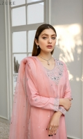 Radiate your personality in our exquisitely hand-embellished cotton silk shirt in peach with silver detailing on the boat neck, sleeves, and all over the front. It's intricately designed with Zardozi, Dabka, and Sequins with floral motifs. It's paired with beautiful cotton silk trouser with a very delicate self-embellished border and Organza dupatta designed with gorgeously embellished floral bunches on all 4 sides of the border with slightly sequin details all over it turns timeless beauty.
