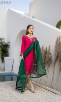 A beautifully hand-embellished cotton silk shirt in hot pink color exhibits timeless beauty. It's gorgeously self-embellished in floral motifs with Kora, Dabka, Zardozi, and sequins on the neckline, sleeves, and inspired borders. The outfit comes with Masuri straight pants and a slightly hand-embellished Organza dupatta with lace finishing all over it add oomph to the look.