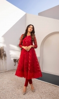 Feel like a Diva! Make your fashion game stronger with our Maroon Organza Frock is composed with enormous embroidered front and back with silk thread motifs. A balanced touch of hand-embellished sequins with complementing straight pants completes this outfit.