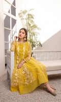 Make your fashion game stronger with our Yellow Organza Frock is composed of enormous embroidered front and back with silk thread motifs. A balanced touch of hand-embellished sequins with complementing straight pants completes this outfit.