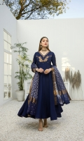 Our traditional long cotton silk frock decorated with intricate hand-work motifs. Body yolk and sleeves are fully embellished with Kora, Dabka, and Zardozi. This outfit comes with cotton silk straight pants and a Banarsi dupatta featuring sequin details on borders with a contrast panel border on all 4 sides. This outfit is the perfect addition to your closet for this festive season.