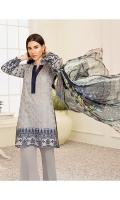 1M : Embroidered Lawn Front 1M : Embroidered Front Border 1M : Embroidered Self Lawn Sleeves 1.25M : Self Designed Lawn Back 2.5M : Digital Printed Crinkle Chiffon Dupatta 2.5M : Dyed Cotton Trouser