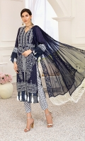 1.25M : Embroidered Self Designed Lawn Front 2M : Self Designed Lawn For Front & Sleeves 1M : Embroidered Border for Sleeves 2.5M : Embroidered Crinkle Chiffon Dupatta 2.5M : Printed Cotton Trouser