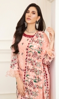 1M : Embroidered Net Lawn Front 1M : Embroidered Front Border 20 INCHES Net Lawn Side Panels 1M : Embroidered Net Lawn Sleeves 1.25M : Net Lawn Back 2.5M : Embroidered Silver Jacquard Lawn Dupatta 2.5M : Dyed Cotton Trouser