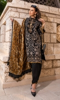 1.25m : Dyed Embroidered Front 0.75m : Dyed Embroidered Sleeves 1.25m : Dyed Embroidered Back 2.5 m : Dyed Trouser 2.25 m : Dyed Embroidered Velvet Shawl