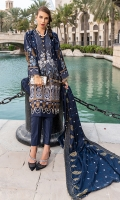 1.25m : Dyed Embroidered Front 0.75m : Dyed Embroidered Sleeves 1.25m : Dyed Embroidered Back 2.5 m : Dyed Trouser 2.25 m : Dyed Embroidered Shawl