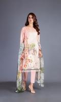 Shirt: Printed Lawn - 2.80 Meter Dupatta: Chiffon - 2.50 Meter Shalwar: Cambric - 2.50 Meter
