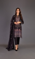 Shirt: Embroidered Lawn - 1 Meter Back: Embroidered Lawn - 1.5 Meter Slip: Lawn - 2.5 Meter Dupatta: Chiffon - 2.5 Meter Shalwar: Plain Cambric - 2.5 Meter
