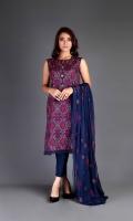 Shirt: Embroidered Lawn - 2.5 Meter Slip: Lawn - 2.5 Meter Dupatta: Chiffon - 2.5 Meter Shalwar: Plain Cambric - 2.5 Meter