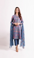 Shirt: Embroidered Swiss Lawn - 2.5 Meter Dupatta: Chiffon - 2.5 Meter Shalwar: Plain Cambric - 2.5 Meter