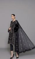 Shirt: Embroidered Velvet - 1 Meter Back: Embroidered Velvet - 1.5 Meter Dupatta: Embroidered Chiffon - 2.5 Meter Shalwar: Plain Velvet - 2.5 Meter