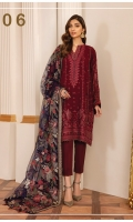 Embroidered Chiffon Front Panel (0.47 Yard) Embroidered Chiffon Side Panel (0.72 Yard) Plain Chiffon Back (1.00 Yard) Embroidered Neckline Patch (1 PC) Embroidered Chiffon Sleeves (0.72 Yards) Embroidered Sleeves Patch (1.10 Yards) Embroidered Front and Back Patch (2.00 Yards) Embroidered Net Dupatta (2.65 Yards) Embroidered Dupatta Patch (5.75 Yards) Dyed Silk Trousers (2.50 Yards)