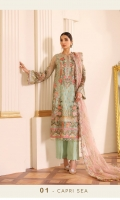 Embroidered Net Front (0.88 Yard) Embroidered Net Back (1 Yard) Embroidered Net Sleeves (0.72 Yard) Embroidered Net Sleeves Patch (1.10 Yards) Embroidered Net Front and Back Patch (2 Yards) Embroidered Net Dupatta (2.80 Yards) Dyed Silk Trousers (2.50 Yards)