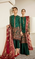 Embroidered Front (0.68 Yards) Embroidered Side Pabel (0.32 Yards) Plain Backj (1 Yard) Embroidered Sleeves (0.72 Yards) Embroidered Neckline Patch (Silk) (1 Pc) Embroidered Neckline Patch (Chiffon) (2.50 Yards) Embroidered Front and Back Patch (Chiffon) (2 Yards) Embroidered Front and Back Patch (Silk) (2 Yards) Dyed Silk Trousers (2.50 Yards) Dyed Jamawaar Duptta (2.75 Yards)