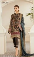 Embroidered Front (0.85 Yards) Plain Jamawaar Back (1 Yard) Embroidered Sleeves (0.72 Yards) Embroidered Sleeves Patch (Silk) (1.10 Yards) Embroidered Front and Back Patch (Silk) Green (2 Yards) Embroidered Front and Back Patch (Silk) Maroon (2 Yards) Embroidered Chiffon Dupatta (2.65 Yards) Dyed Silk Trousers (2.50 Yards)