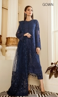 Embroidered Front (1 Yard) Plain Back (1 Yard) Embroidered Sleeves (0.72 Yards) Embroidered Sleeves Patch (1.10 Yards) Embroidered Front and Back Patch (2 Yards) Embroidered Net Dupatta Borders (2) (1.25 Yards Each) Embroidered Net Dupatta (3 Yards) Embroidered Trousers Patch (1.10 Yards) Dyed Silk Troutsers (2.50 Yards)