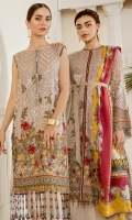 Embroidered Front (1 Yard) Embroidered Back (1 Yard) Embroidered Sleeves (0.72 Yards) Embroidered Sleeves Patch (1.10 Yards) Embroidered Front and Back Patch (2 Yards) Dyed Silk Trousers (2.50 Yards) Digital Printed Silk Dupatta (2.75 Yards)