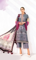 Embroidered Lawn Front Digital Printed Lawn Back+Sleeves Embroidered Neckline Patch Embroidered Front Patches (2) Digital Printed Chiffon Dupatta Dyed Cambric Lawn Trouser
